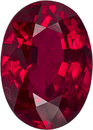 Very Fine Crystal African Ruby Oval Cut, Fine Rich Red Color in 7.2 x 5.2 mm, 1.24 carats