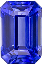 Super Elegant Loose Emerald Cut Blue Sapphire in Bright Rich Blue Color, 10 x 6.6 mm, 4.10 carats