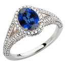 Impressive Pave Diamond White Gold Ring with Vivid 7x5mm Blue Sapphire Gemstone for SALE