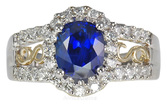 A Stunning Ring!  2.49 carat 7.70x6.45mm Rich Royal Genuine Blue Sapphire set with Pave Diamonds