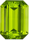 Peridot Loose Gemstone in Emerald Cut, Rich Green Color, 14.3 x 10.4 mm, 8.36 carats