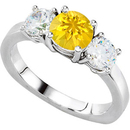 Must-Have 3-Stone Engagement Ring With 1 carat 6mm Round Yellow Sapphire Center & Round Diamond Side Gems