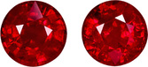 Stunning Round Rubies Well Matched in Rich Intense Red Color, 6.5 mm, 2.67 carats
