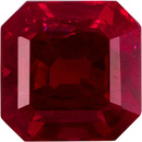 Asscher Cut Loose Ruby Gemstone in Rich Pure Red Color, 4.7 mm, 0.72 carats