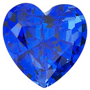 Grade GEM CHATHAM CREATED BLUE SAPPHIRE Heart Cut Gems