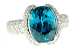 Fantastic Large GEM Fine Blue Zircon and Diamond ring in 18 kt gold - SOLD