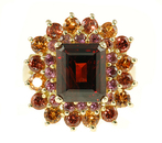 Almandite Garnet with mixed Garnet Accents - Fabulous Multicolor Garnet Ring for SALE - SOLD