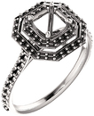 Asscher Double Halo Accented Engagement Ring Mounting for Shape Centergems Sized 5.00 mm to 7.00 mm - Customize Metal, Accents or Gem Type