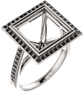 Bezel Set Halo Ring Mounting for Square Shape Centergem Sized 5.00 mm to 10.00 mm - Customize Metal, Accents or Gem Type