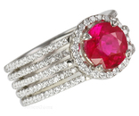 Vivid 2.12 ct Top Burma Gem Red Ruby set in Lots of Diamonds - Amazing Ruby Ring for SALE - SOLD