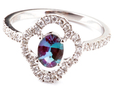 Elegant Genuine .51ct Alexandrite 14kt White Gold Ring With a Fancy Open Diamond Frame