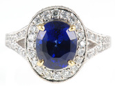 Vivid 3.14 carat Blue Sapphire and Diamond Pave ring in 2 tone 18 kt gold - SOLD