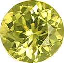 Unheated Lively Bright Round Yellowish Green Grossular Garnet 10.0 mm, 4.33 carats