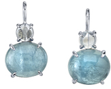 Sleek 18kt White Gold Multi Gemstone Oval Cabochon Aquamarines (10.43ctw) & Round Moonstone (0.93ctw) Earrings - SOLD