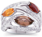 14KT White Gold 1/6 Carat Total Weight Diamond, Smoky Quartz, Madeira Citrine & Citrine Ring