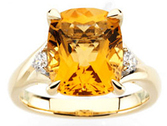 14KT Yellow Gold Citrine & 1/6 Carat Total Weight Diamond Ring