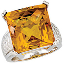 Checkerboard Citrine Weave Design Ring