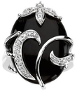 Onyx & Diamond Accented Floral Ring