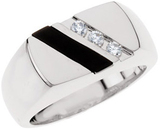 Sterling Silver Men's Onyx & 1/10 Carat Total Weight Diamond Ring