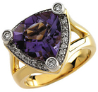 14KT Yellow Gold Gold Plated Amethyst & 1/3 Carat Total Weight Diamond Ring