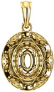 Ornate Accented Halo Pendant Mounting for Oval Shape Centergem Sized 6.00 x 4.00 mm to 12.00 x 10.00 mm - Customize Metal, Accents or Gem Type