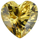 Yellow Cubic Zirconia Loose Faceted Gemstone Heart Shape Gemstone Sized 10.00 mm