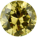 Loose Quality Faceted Yellow Cubic Zirconia Gem in Round Shape Gemstone Sized 12.00 mm