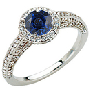 Gorgeous Pave Diamond & GEM Grade 5.50mm Blue Sapphire Stone Engagement Ring for SALE
