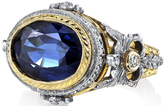 Stunning Handmade 2 Tone 18kt Gold Bezel Set 5.56ct Deep Blue Oval Sapphire Gemstone Ring - Diamond Accents