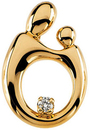 14 KT Yellow Gold Mother and Child  .05 Carat Total Weight Diamond Pendant