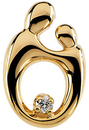 14 KT Yellow Gold Small Mother and Child  Diamond Pendant