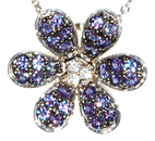 Natural Flower Motif Genuine .61ct 1-1.5mm Alexandrite Pave and Diamond Pendant in 18 kt White Gold
