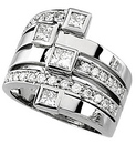 Bold 1.35 Carat Total Weight 3.75 mm Diamond Right Hand Ring set in 14 karat White Gold - SOLD