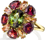 Multi Gem Andrew Sarosi Flower Style 18kt Yellow Gold Cocktail Ring With 2.92ct Green Tourmaline Center, Garnet & Topaz Petals