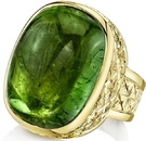 Awesome 18kt Yellow Gold Handmade Yuri Ring With 32 carat Cabochon Cushion Cut Green Tourmaline