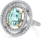 Spectacular 18kt White & Yellow Gold Ring With GIA Certified Paraiba Tourmaline - Diamond Accents