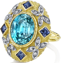 Unique Handmade 14.68 carat Huge Gem Blue Zircon Statement Ring With Princess Cut Blue Sapphires & Diamonds - 18kt Yellow Gold