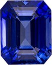Fiery Blue Ceylon Sapphire Genuine Gem in Emerald Cut, 9.1 x 7.3 mm, 3.29 Carats