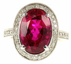 Ruby like Red Tourmaline and Diamond gemstone ring in 18 karat white gold - SOLD