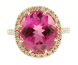 Elegant Pink Tourmaline Ring in 2 Tone 18 kt Gold Ring for SALE - Amazing Diamond Detailing - SOLD