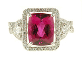 Fetching Hot Pink Tourmaline Ring in 18 kt white gold - Delicate Inlaid Diamond Mounting - SOLD