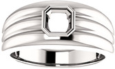 Thick Grooved Band Bezel Set Solitaire Men's Ring Mounting for Asscher Shape Centergem Sized 5.00 mm to 10.00 mm - Customize Metal, Accents or Gem Type