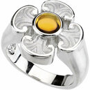14KT White Gold Citrine Maltese Cross Ring