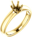 Unset Ring 6-Prong Classic Mounting in 14 Karat Yellow Gold for Oval Shape Gemstone Sized 7.00 x 5.00 mm, Ring Size 5