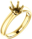 Unset Ring 6-Prong Classic Mounting in 14 Karat Yellow Gold for Oval Shape Gemstone Sized 8.00 x 6.00 mm, Ring Size 5