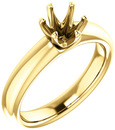 Unset Ring 6-Prong Classic Mounting in 14 Karat Yellow Gold for Round Shape Gemstone Sized 6.00 mm, Ring Size 5