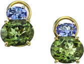 Colorful Multi-gem Post Back Earrings in 18kt Yellow Gold - Oval Tanzanites & Green Tourmalines