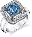 Gorgeous 2 carat Finest Blue Aquamarine Hand Crafted Gemstone Ring With 0.30 ctw Fine Diamond Accents in 18kt White Gold
