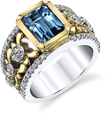 Rare Santa Maria Emerald Aquamarine 2.6 carats in 2 Tone 18kt White & Yellow Gold Handmade Ring With 50 Diamond Accents - SOLD