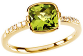 14KT Yellow Gold Checkerboard Peridot & 1/10 Carat Total Weight Diamond Ring